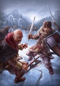 Ein Norbarde und ein Gardist kämpfen auf einem Eissee